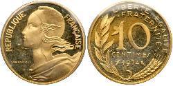 10 Centime Fünfte Französische Republik (1958 - ) Gold