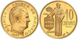 10 Centime Mónaco  Raniero III de Mónaco