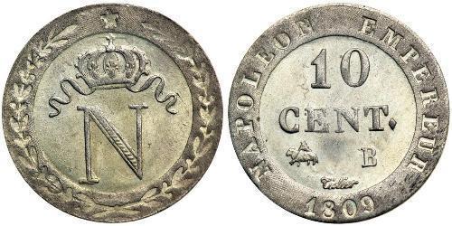 10 Centime Primo Impero francese (1804-1814)  Napoleone Bonaparte(1769 - 1821)