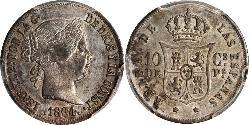 10 Centimo Philippines Silver Isabella II of Spain (1830- 1904)