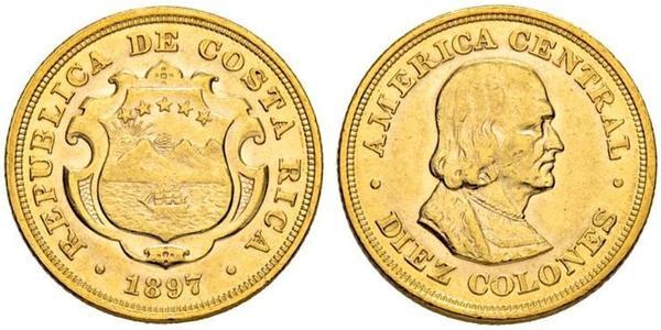 10 Colon Costa Rica Oro Cristoforo Colombo (1451 - 1506)