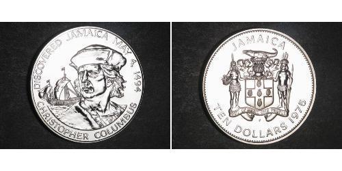 10 Dólar Jamaica (1962 - ) Plata Cristóbal Colón (1451 - 1506)