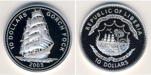 10 Dólar Liberia Plata