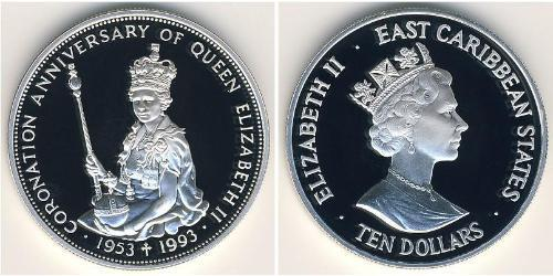 10 Dólar  Plata Isabel II (1926-)