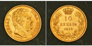 10 Dinar Serbia Gold Milan I of Serbia