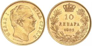 10 Dinaro Serbia Oro Milan I de Serbia