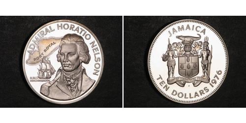 10 Dollar 牙买加 銀 第一代纳尔逊子爵霍雷肖·纳尔逊