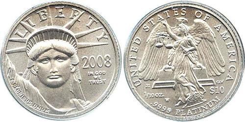 10 Dollar USA (1776 - ) Platinum