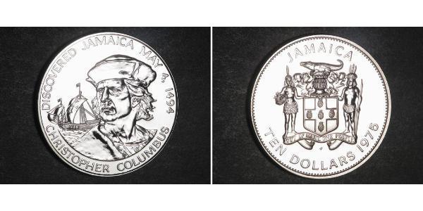 10 Dollaro Giamaica (1962 - ) Argento Cristoforo Colombo (1451 - 1506)