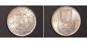 10 Escudo Second Portuguese Republic (1933 - 1974) 銀