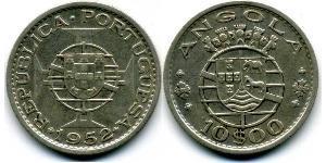 10 Escudo Portogallo / Portuguese Angola (1575-1975) Argento