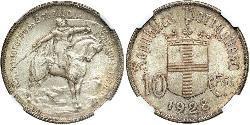 10 Escudo Portuguese Republic - Ditadura Nacional (1926 - 1933) Silver
