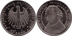 10 Euro Repubblica Federale di Germania (1990 - ) Argento