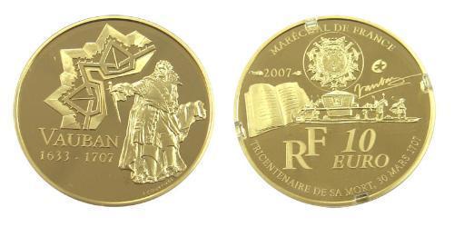 10 Euro Quinta República Francesa (1958 - ) Oro