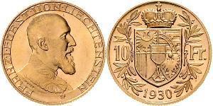 10 Franc Liechtenstein 金 Franz Joseph II, Prince of Liechtenstein (1938 - 1989)