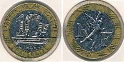 10 Franc Quinta República Francesa (1958 - ) Bimetal