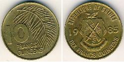 10 Franc Republic of Guinea Brass