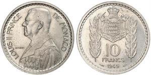 10 Franc Monaco Copper/Nickel Louis II Prince of Monaco (1870-1949)