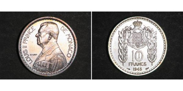 10 Franc Monaco Copper/Nickel Louis II Prince of Monaco (1870-1949)