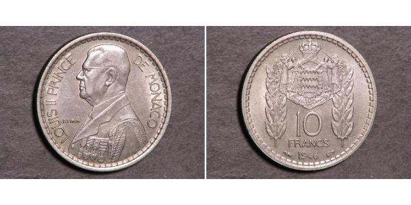 10 Franc Monaco Cuivre/Nickel Louis II de Monaco (1870-1949)