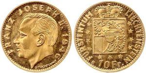 10 Franc Liechtenstein Gold Franz Joseph II, Prince of Liechtenstein (1938 - 1989)