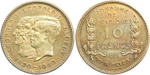 10 Franc Bélgica Níquel Alberto I de Bélgica (1875 - 1934) / Leopold II (1835 - 1909) / Leopoldo I de Bélgica (1790-1865)
