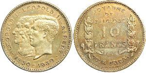 10 Franc Belgien Nickel Albert I. (Belgien) (1875 - 1934) / Leopold II (1835 - 1909) / Leopold I. (Belgien) (1790-1865)