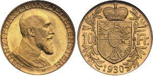10 Franc Liechtenstein Or Franz Joseph II, Prince of Liechtenstein (1938 - 1989)