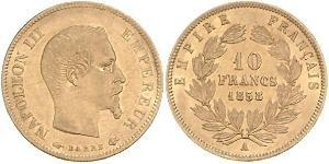 Pièce 10 Franc Second Empire 1852 1870 Or 1859 Napoleon Iii 1808