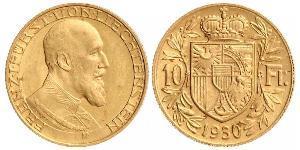 10 Franc Liechtenstein Oro Franz Joseph II, Prince of Liechtenstein (1938 - 1989)