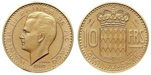 10 Franc Mónaco Oro Raniero III de Mónaco