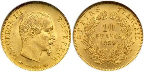 10 Franc Secondo Impero francese (1852-1870) Oro Napoleone III (1808-1873)