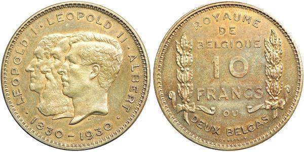 10 Franc Bélgica  Leopold II (1835 - 1909)