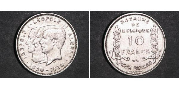 10 Franc Belgien  Leopold II (1835 - 1909)