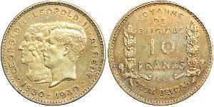 10 Franc Belgique  Leopold II (1835 - 1909)