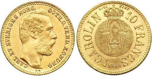 10 Franc / 1 Carolin Suecia Oro Óscar II de Suecia (1829-1907)