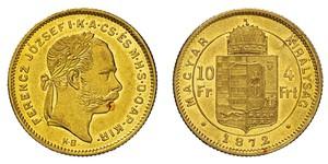 10 Franc / 4 Forint Autriche-Hongrie (1867-1918) Or Franz Joseph I (1830 - 1916)