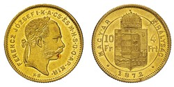 10 Franc / 4 Forint Imperio austrohúngaro (1867-1918) Oro Franz Joseph I (1830 - 1916)