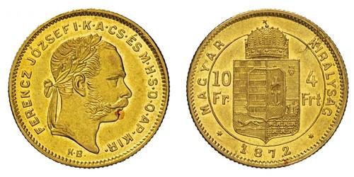10 Franc / 4 Forint Impero austro-ungarico (1867-1918) Oro Franz Joseph I (1830 - 1916)