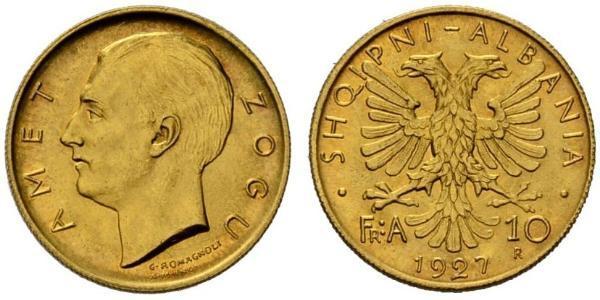 10 Franga Ari Albania Gold Zog I, Skanderbeg III of Albania