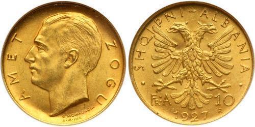 10 Franga Ari Albania Oro Zog I, Skanderbeg III of Albania