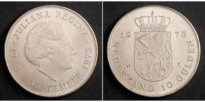 10 Gulden Paesi Bassi Argento Juliana of the Netherlands (1909 – 2004)