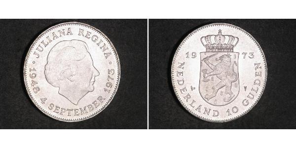 10 Gulden Paesi Bassi Argento Juliana of the Netherlands (1909 – 2004)