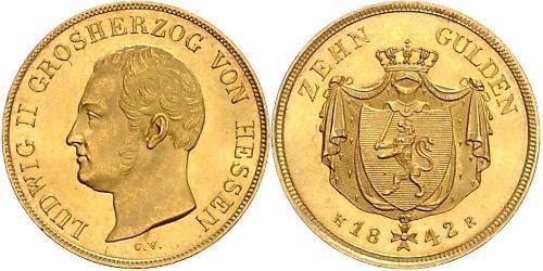 10 Gulden Grand Duchy of Hesse (1806 - 1918) Gold Louis II, Grand Duke of Hesse