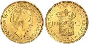 10 Gulden Königreich der Niederlande (1815 - ) Gold Wilhelmina (Niederlande)(1880 - 1962)