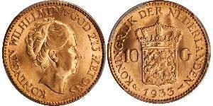 10 Gulden Regno dei Paesi Bassi (1815 - ) Oro Guglielmina dei Paesi Bassi(1880 - 1962)