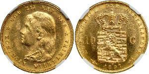 10 Gulden Reino de los Países Bajos (1815 - ) Oro Guillermina de los Países Bajos(1880 - 1962)
