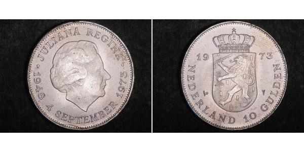 10 Gulden Niederlande Silber Juliana of the Netherlands (1909 – 2004)