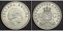 10 Gulden Netherlands Antilles (1954 – 2010) Silver Juliana of the Netherlands (1909 – 2004)