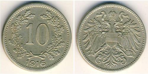 10 Heller Imperio austrohúngaro (1867-1918) Níquel/Cobre/Zinc Franz Joseph I (1830 - 1916)